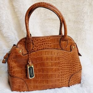 NWOT London Fog Faux Crocodile Vegan Leather Bag